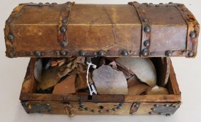 Old Spanish Trunk Of Indian Relics