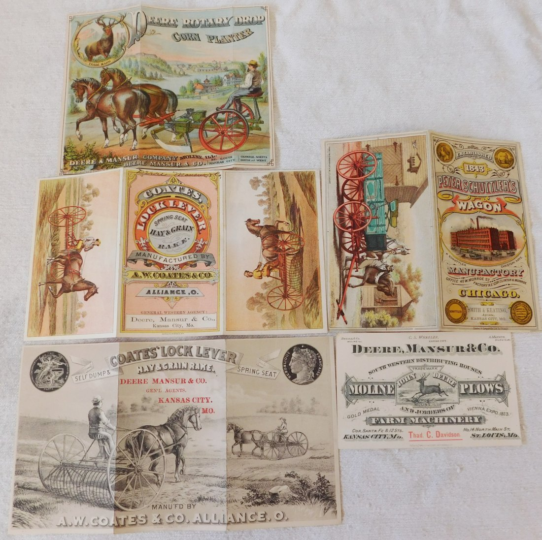 5 Antique Farm Machinery Ad Cards