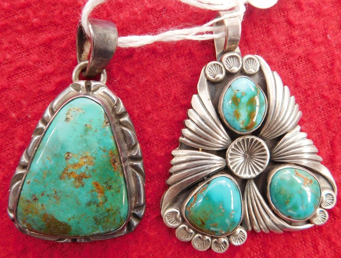 2 Turquoise & Sterling Pendants