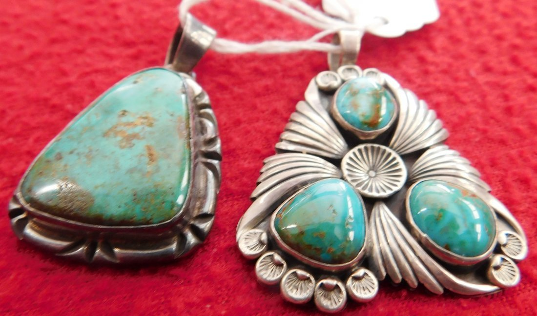 2 Turquoise & Sterling Pendants - 2
