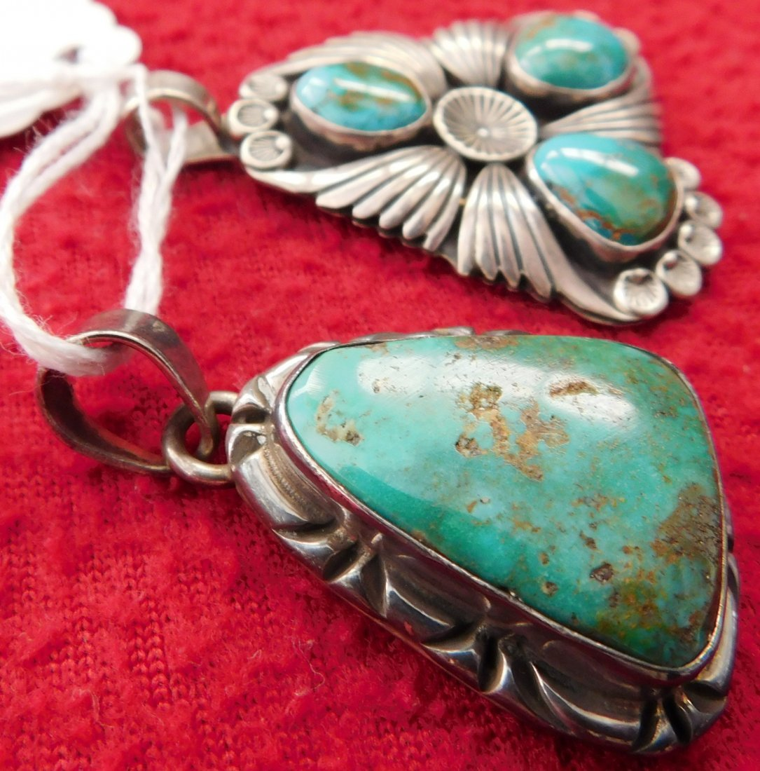 2 Turquoise & Sterling Pendants - 3