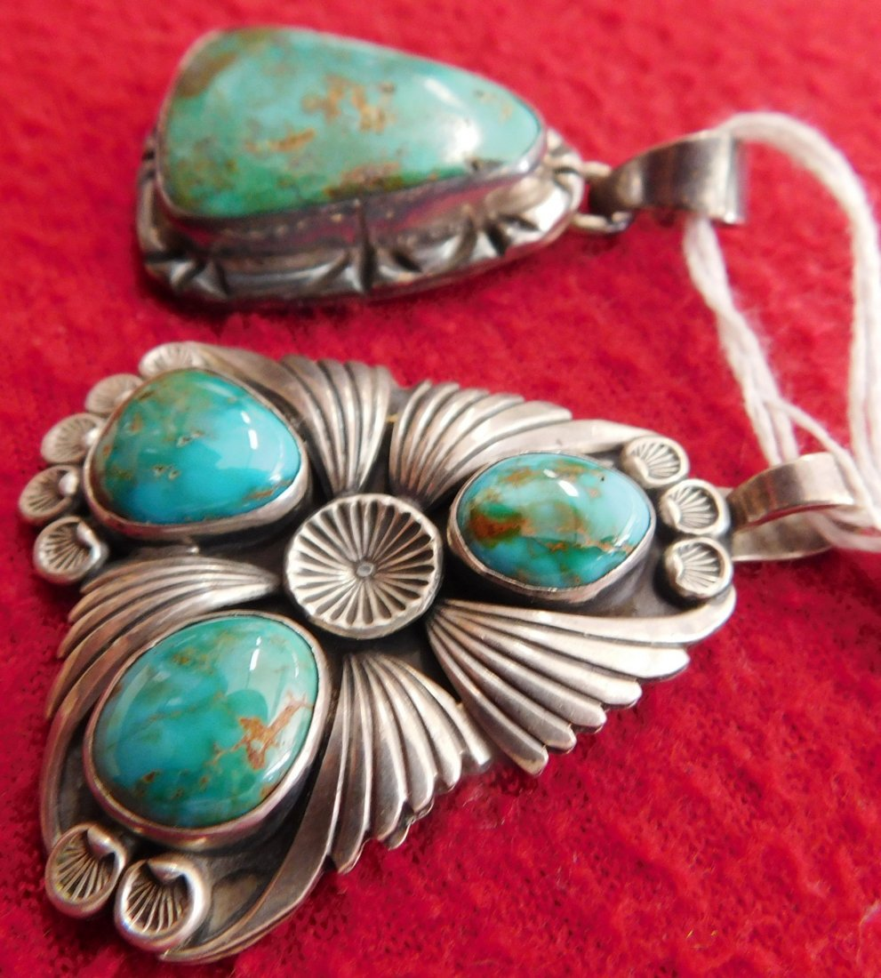 2 Turquoise & Sterling Pendants - 4