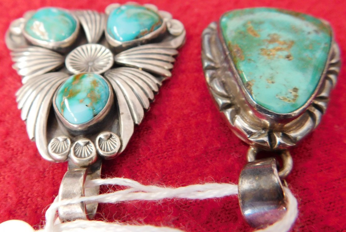 2 Turquoise & Sterling Pendants - 5