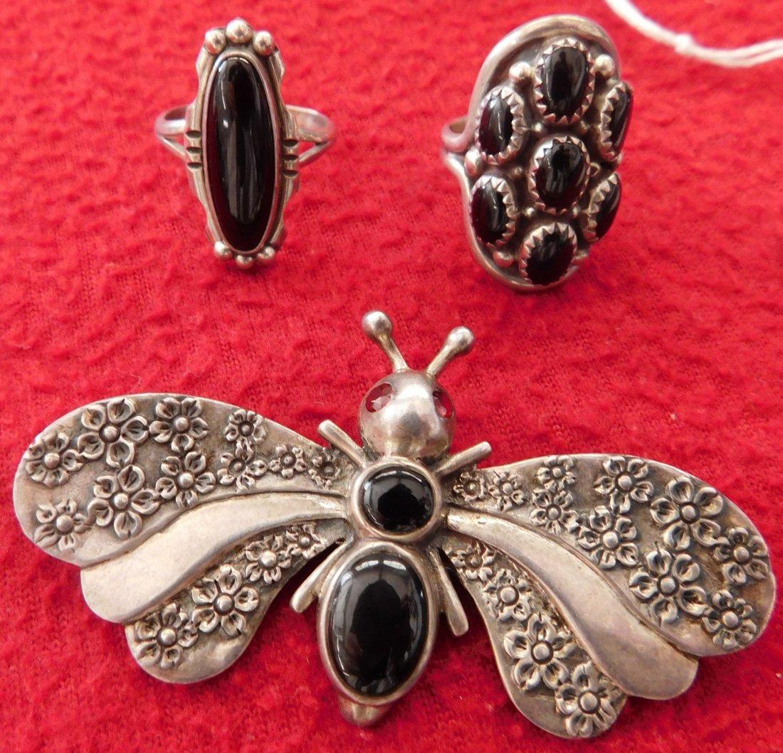 2 Navajo Rings & Dragonfly Pin