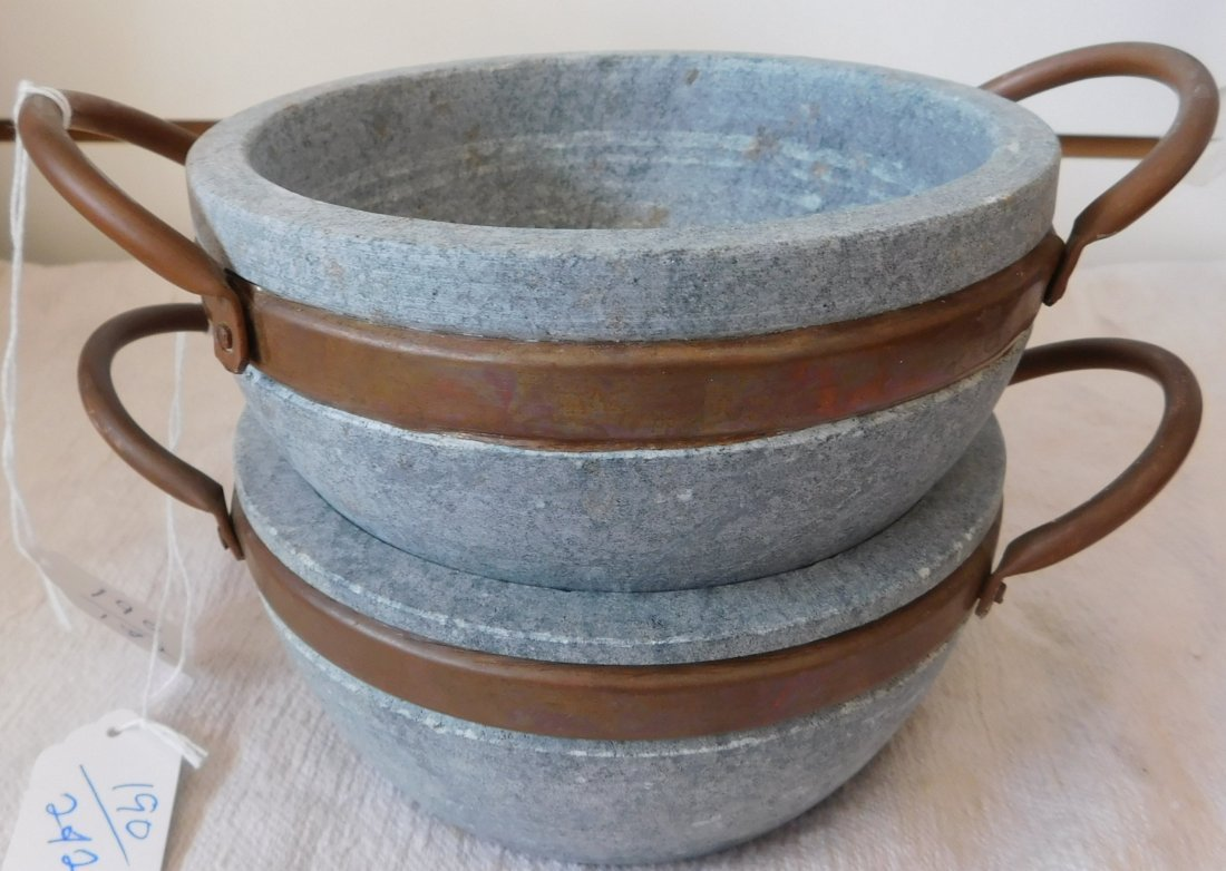 2 Steatite Cooking Bowls