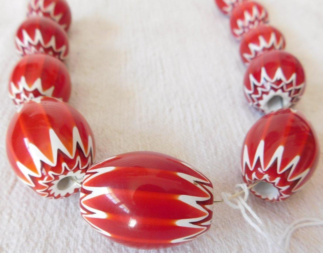 Rare Red Chevron Beads - 2