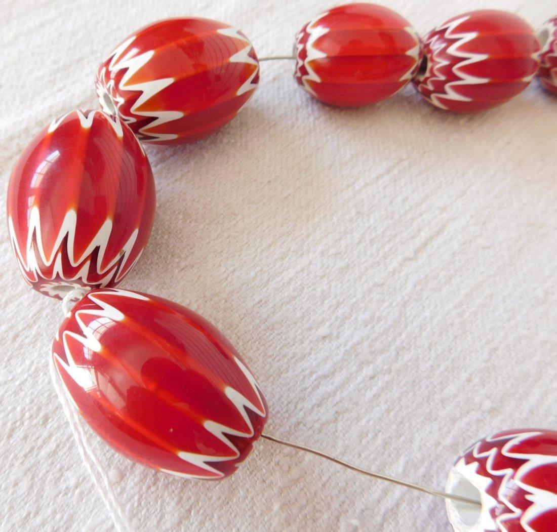 Rare Red Chevron Beads - 5