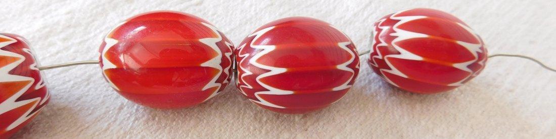 Rare Red Chevron Beads - 6