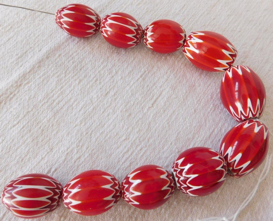 Rare Red Chevron Beads - 7