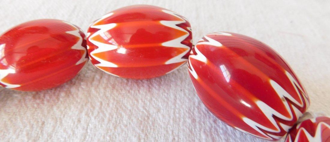 Rare Red Chevron Beads - 8