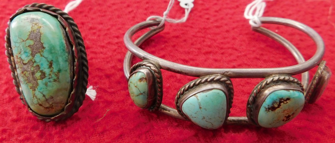 Sterling Silver & Turquoise Cuff & Ring