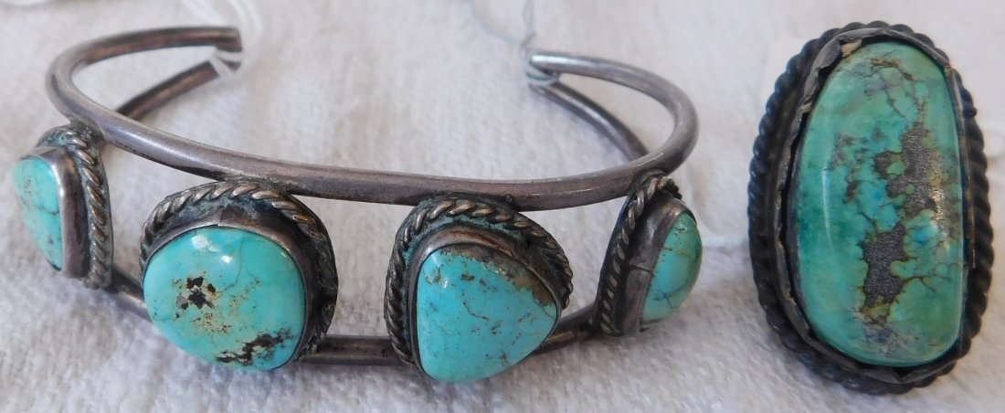 Sterling Silver & Turquoise Cuff & Ring - 7