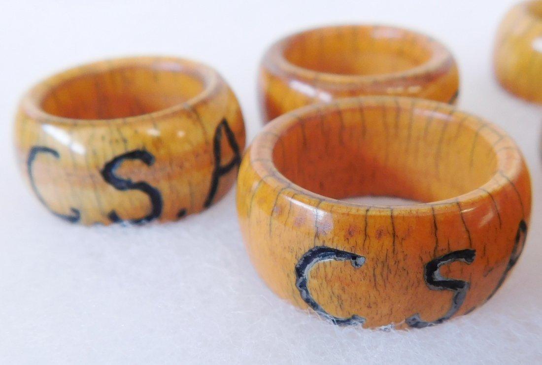 Collection of Bone Civil War Rings - 4