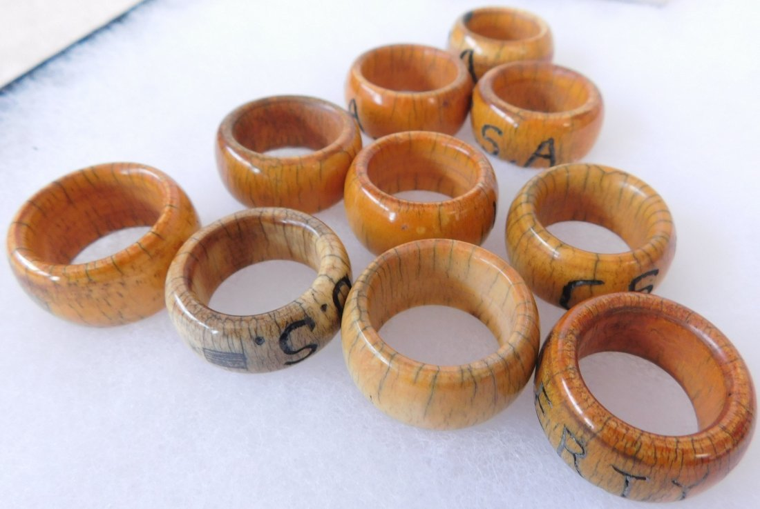 Collection of Bone Civil War Rings - 5
