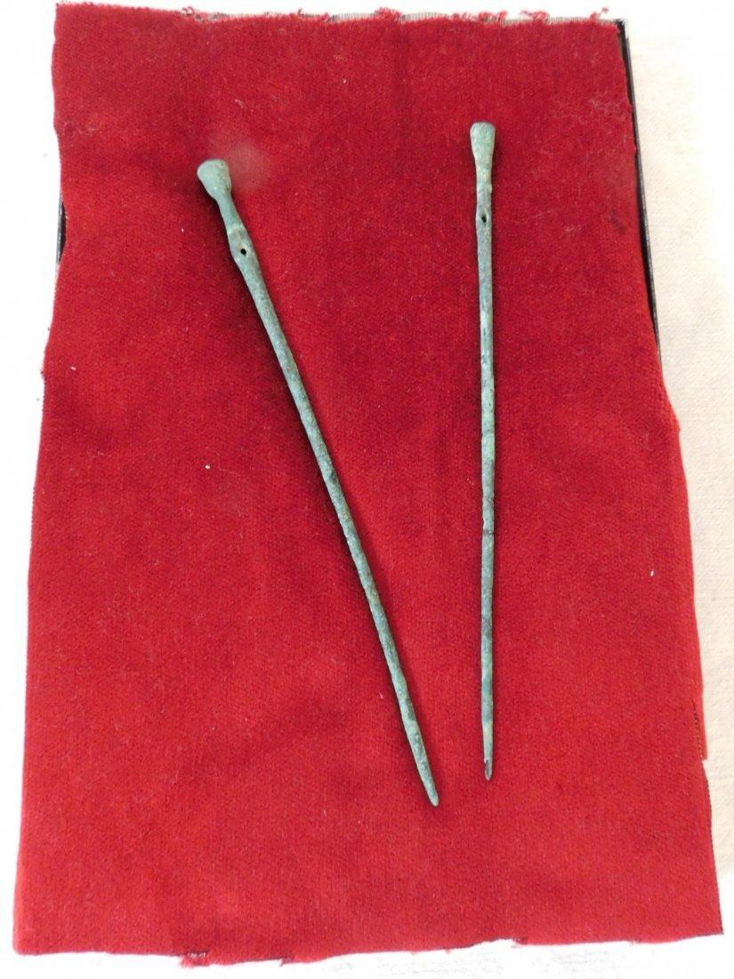 2 Pre-Columbian Copper Hairpins