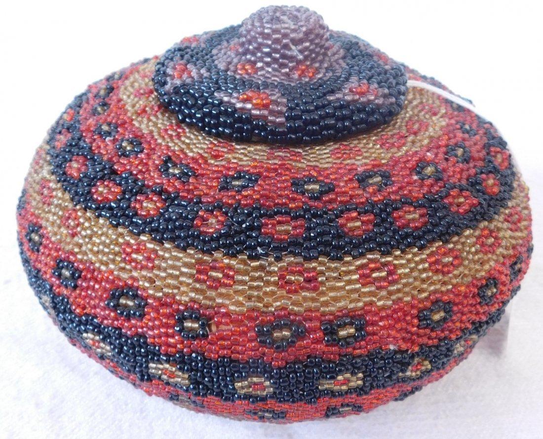 Fully Beaded Tribal Basket