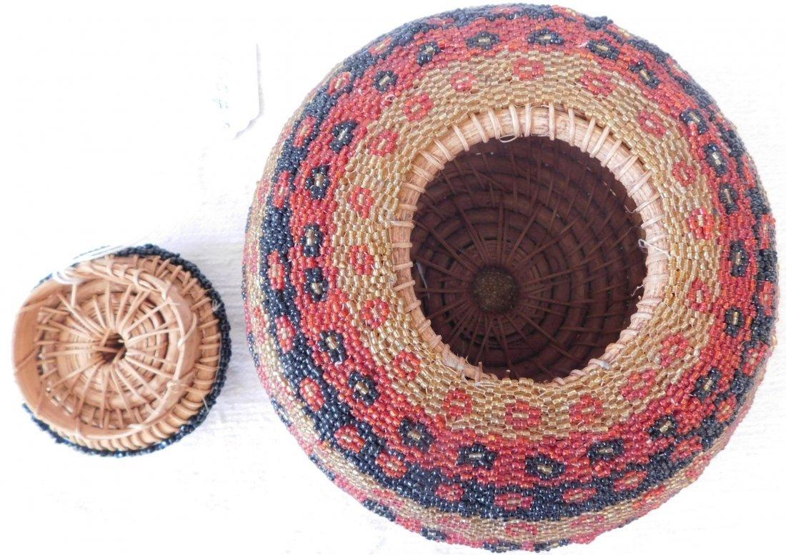 Fully Beaded Tribal Basket - 4
