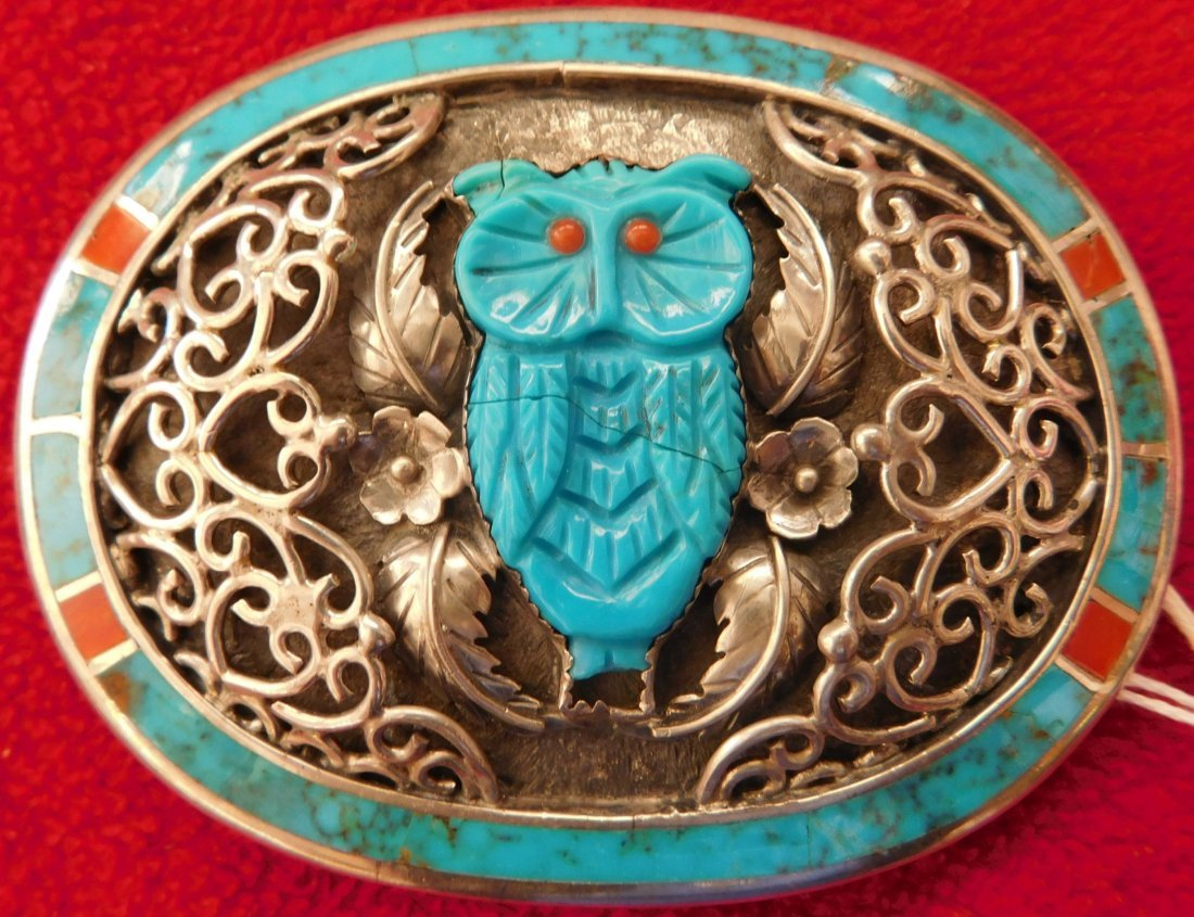 S. Kuehler Carved Turquoise Owl Buckle