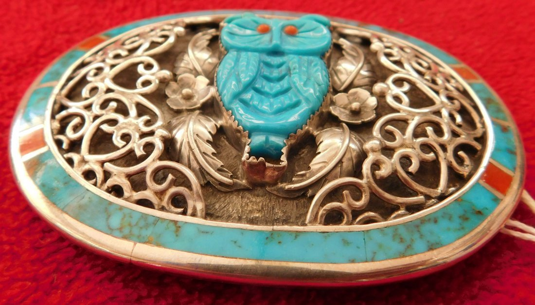 S. Kuehler Carved Turquoise Owl Buckle - 2