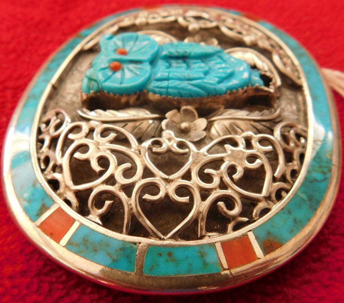S. Kuehler Carved Turquoise Owl Buckle - 3