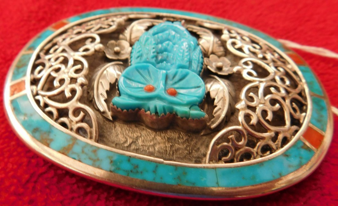 S. Kuehler Carved Turquoise Owl Buckle - 4