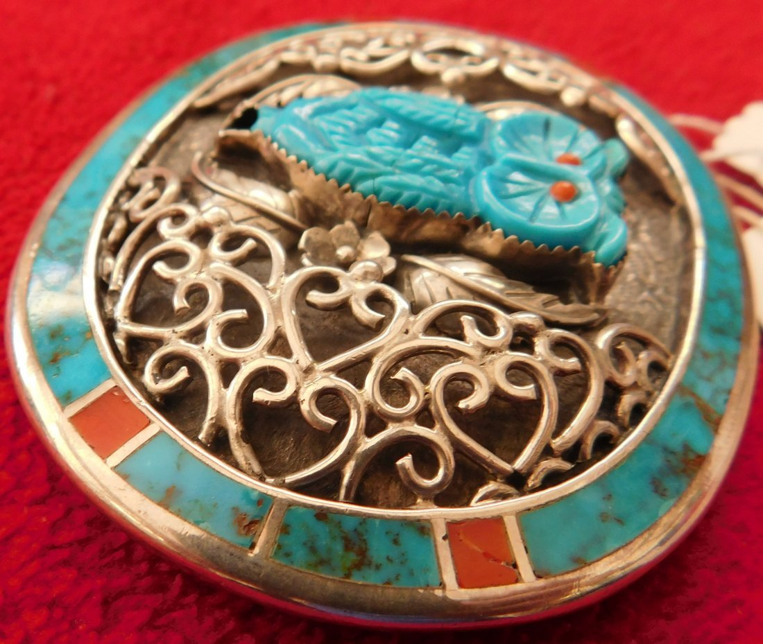 S. Kuehler Carved Turquoise Owl Buckle - 5