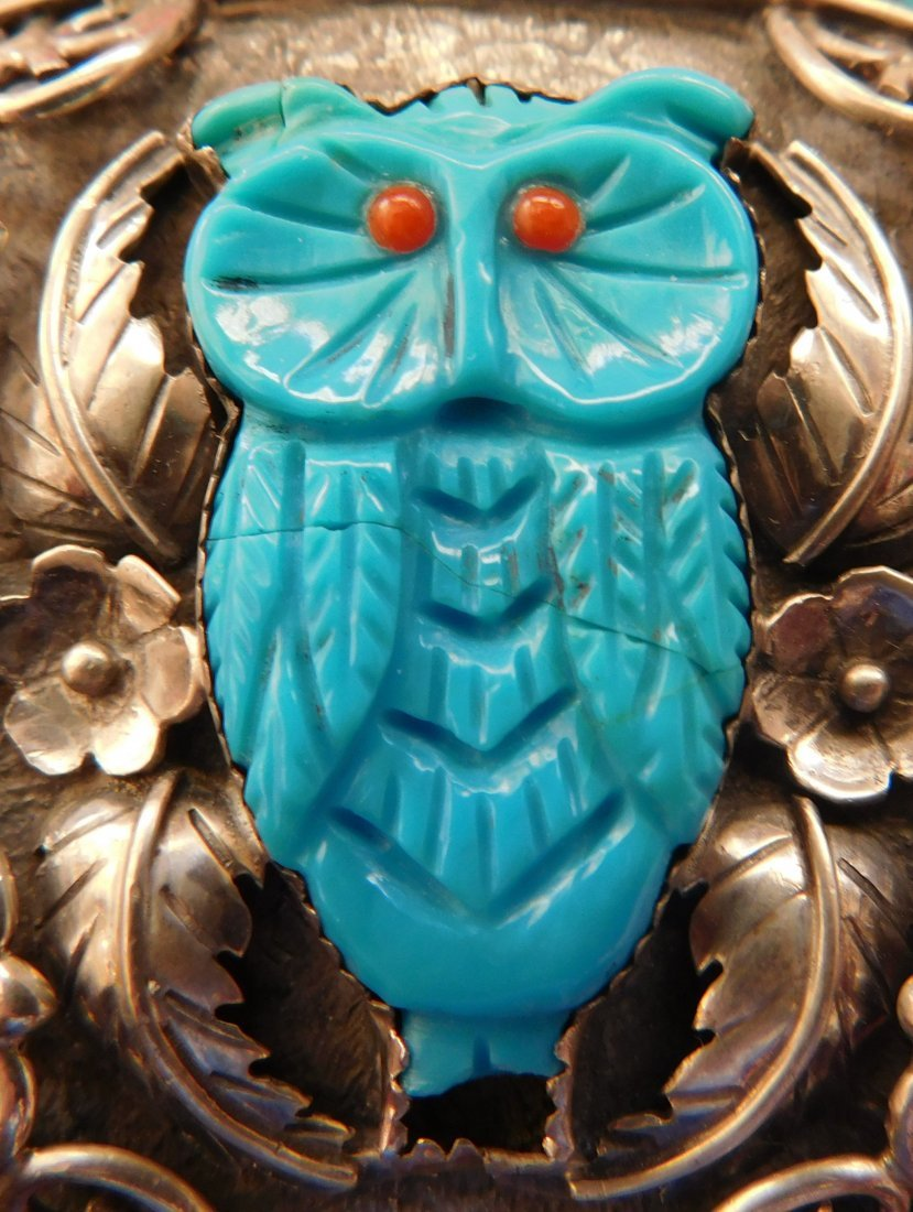 S. Kuehler Carved Turquoise Owl Buckle - 6