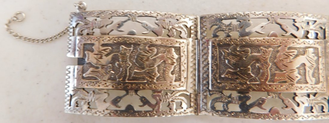 Mexican Sterling w/Gold Wash Bracelet - 2
