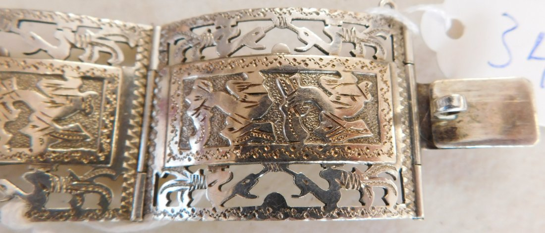 Mexican Sterling w/Gold Wash Bracelet - 5