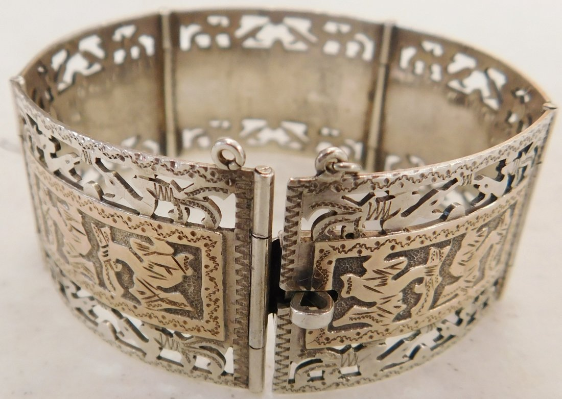 Mexican Sterling w/Gold Wash Bracelet - 8