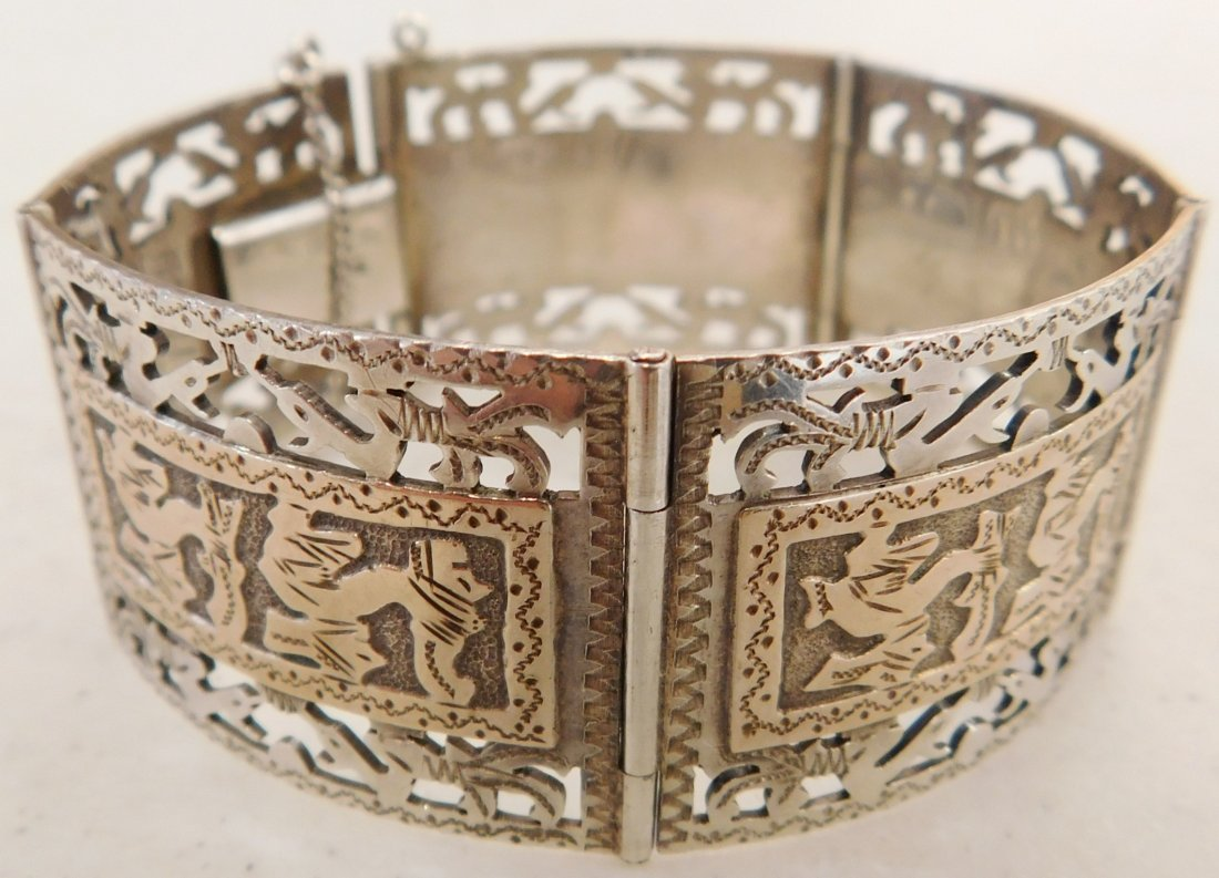 Mexican Sterling w/Gold Wash Bracelet - 9