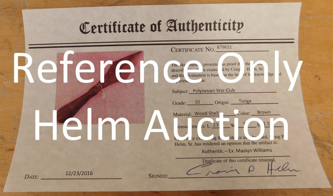 Old Polynesian War Club w/Helm COA - 10
