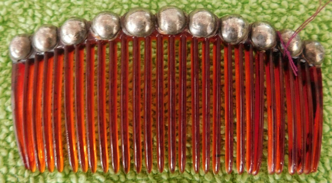 Mexican Sterling Silver & Plastic Comb
