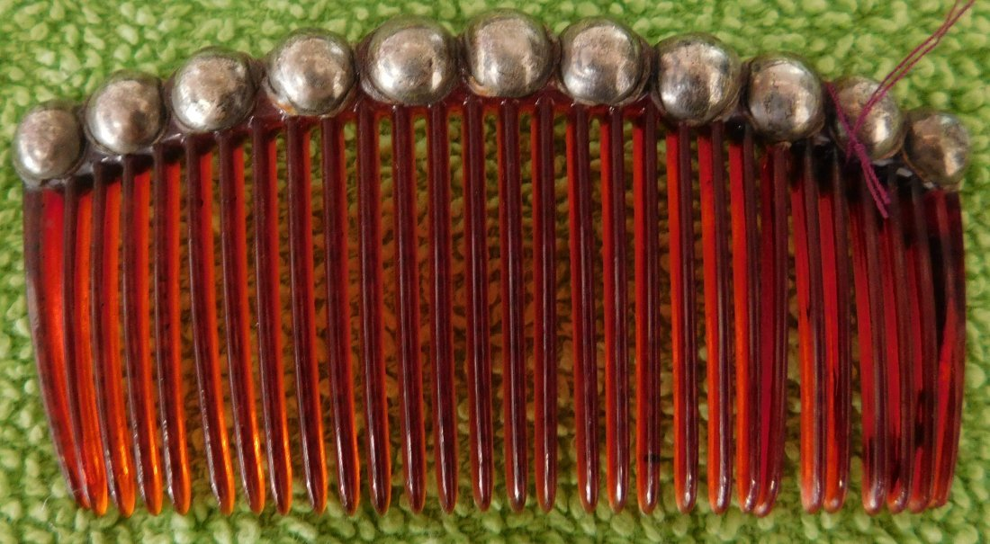 Mexican Sterling Silver & Plastic Comb - 2