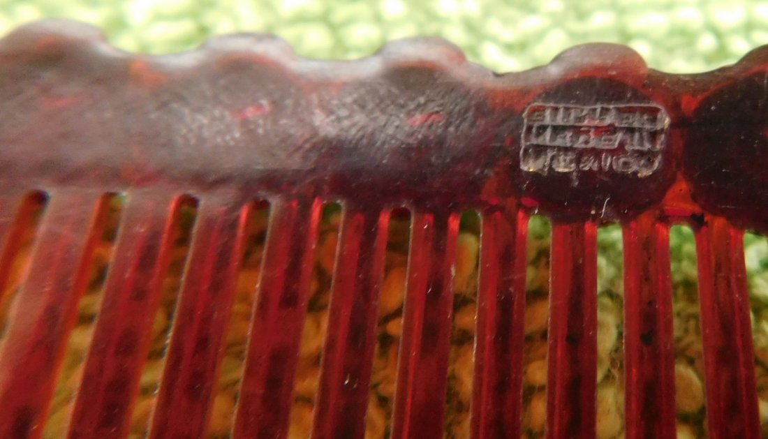 Mexican Sterling Silver & Plastic Comb - 4