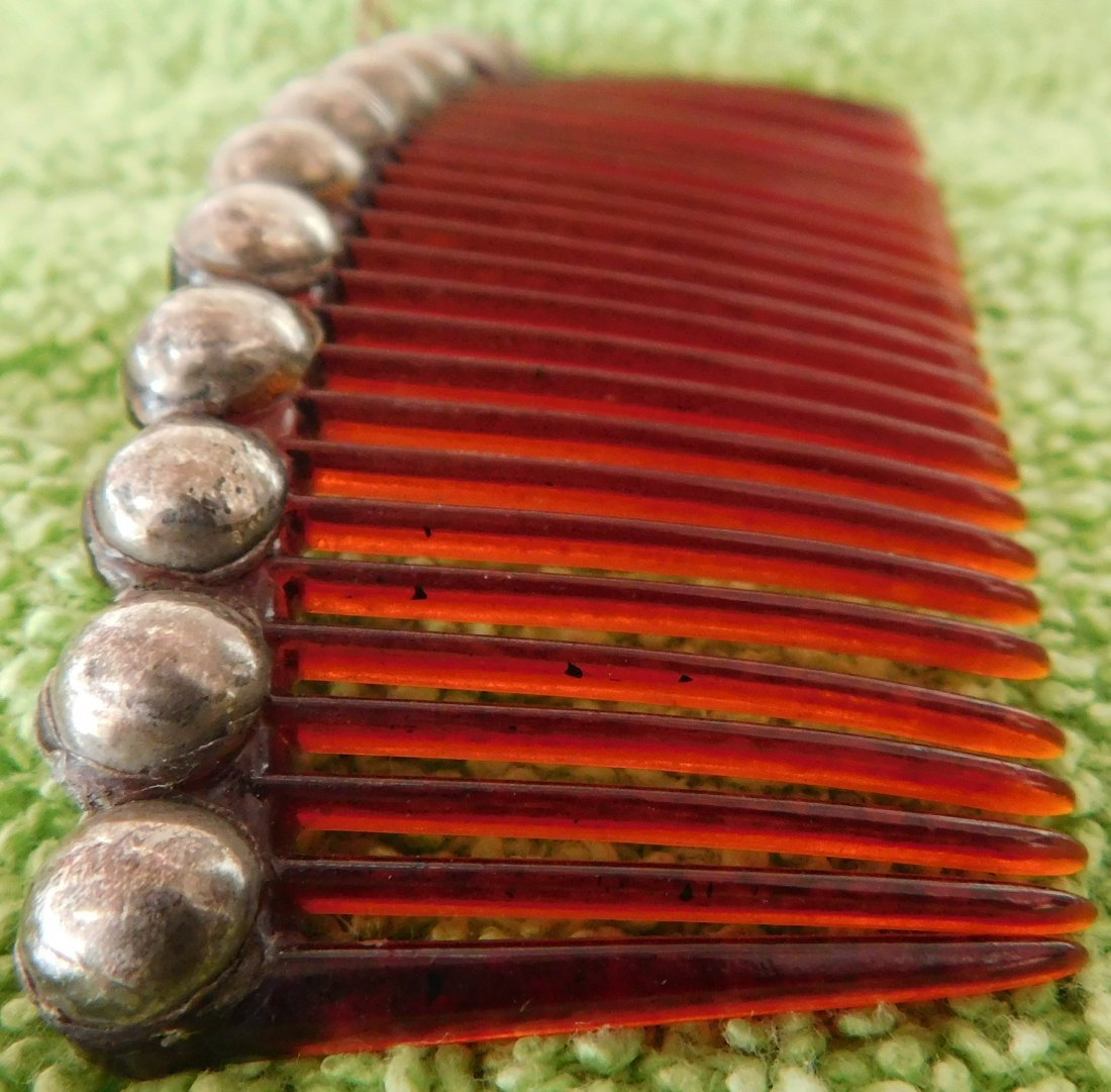 Mexican Sterling Silver & Plastic Comb - 5