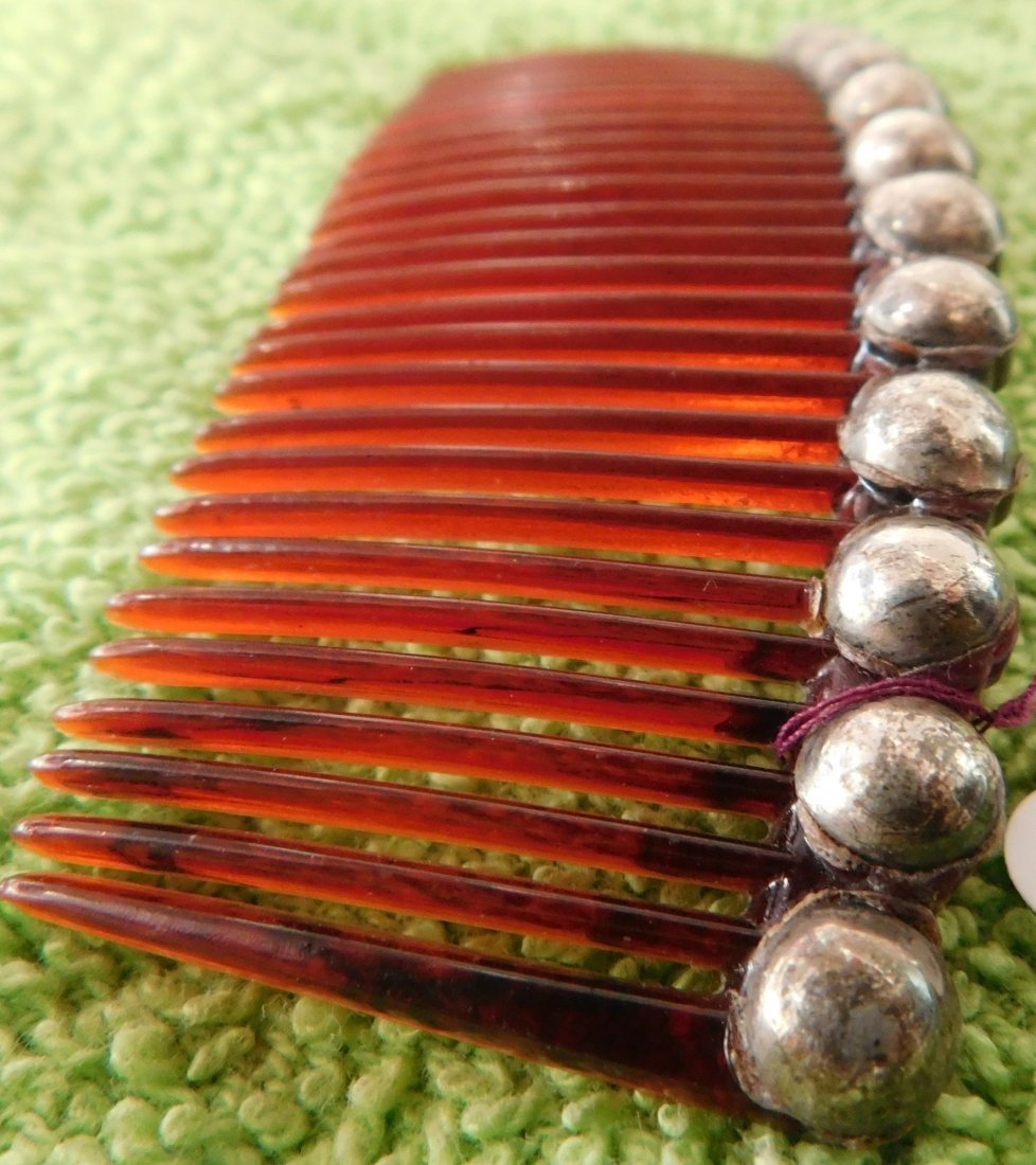 Mexican Sterling Silver & Plastic Comb - 6