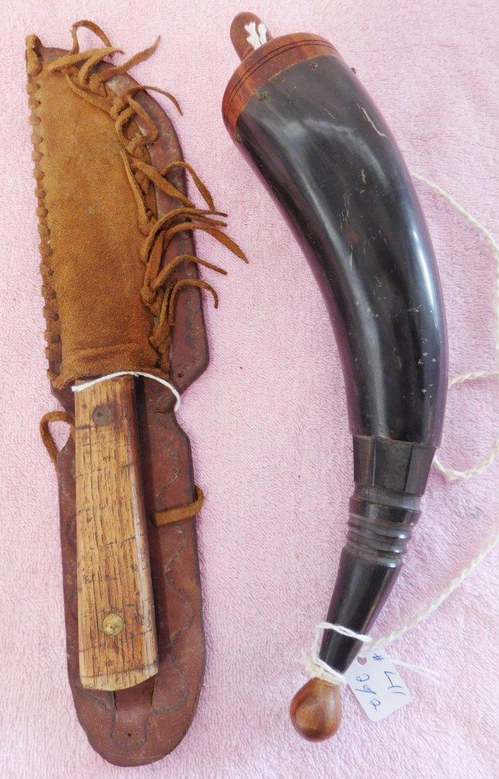 Old Powder Horn & Hunting Knife w/Sheath