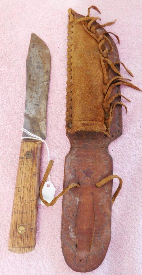 Old Powder Horn & Hunting Knife w/Sheath - 2