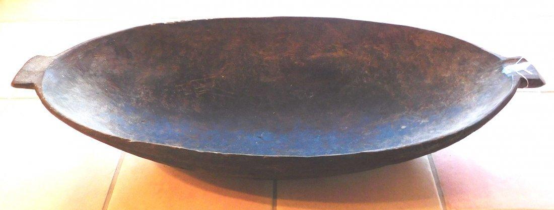 Large Polynesian Wood Bowl w/Helm COA
