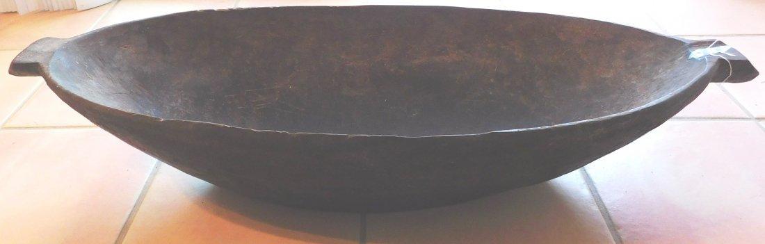 Large Polynesian Wood Bowl w/Helm COA - 2