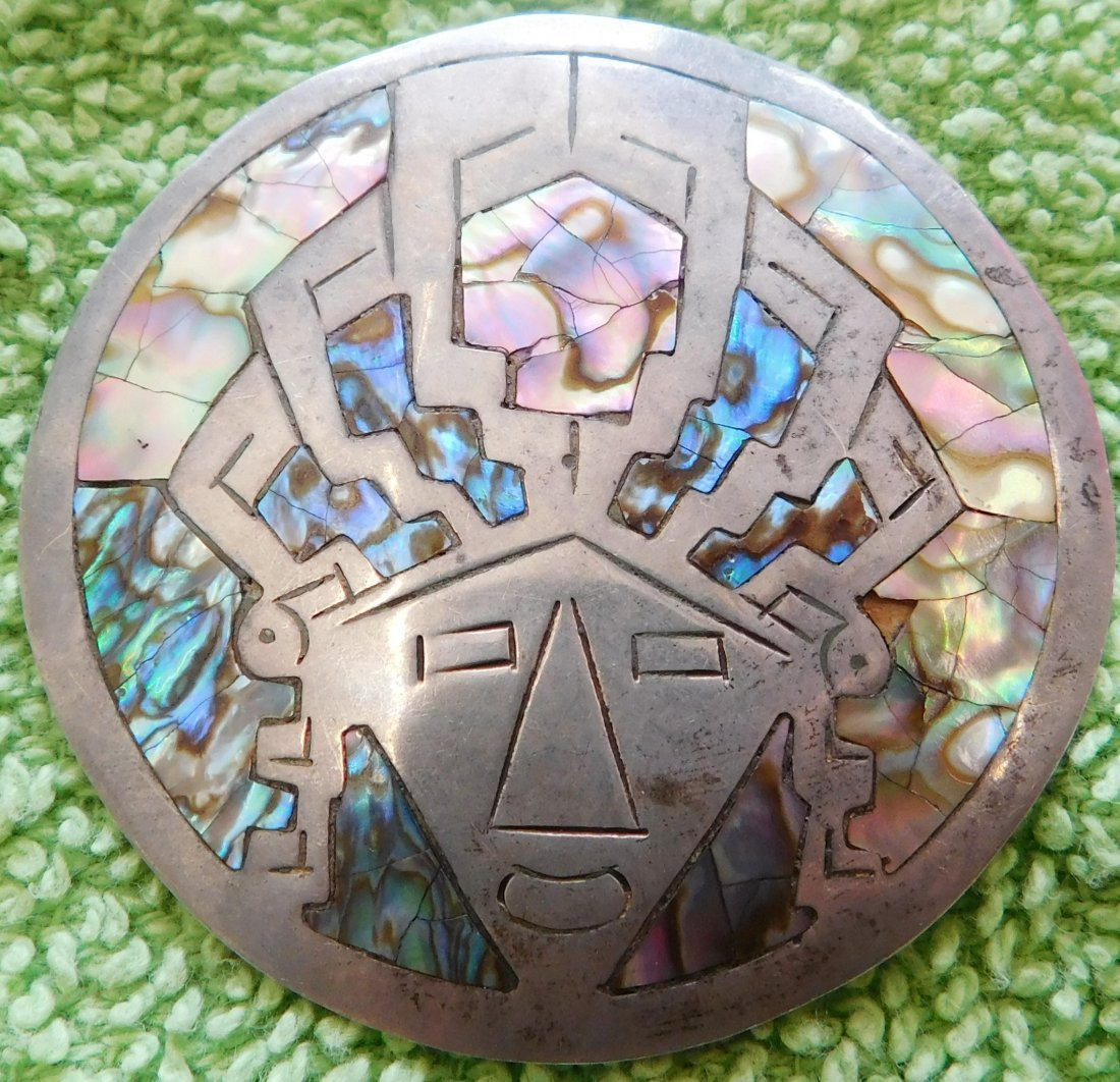 Mexican Sterling Silver & Abalone Pin