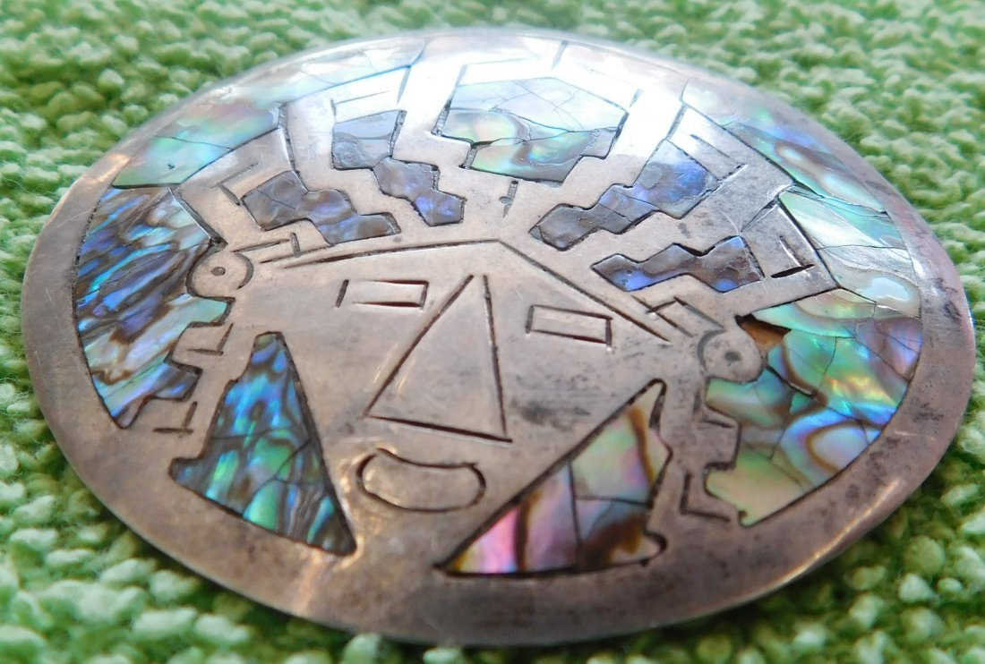 Mexican Sterling Silver & Abalone Pin - 2