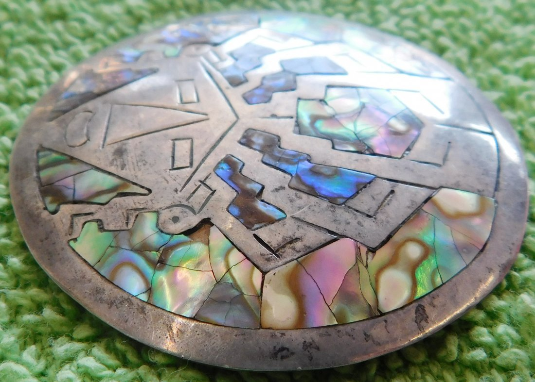 Mexican Sterling Silver & Abalone Pin - 3