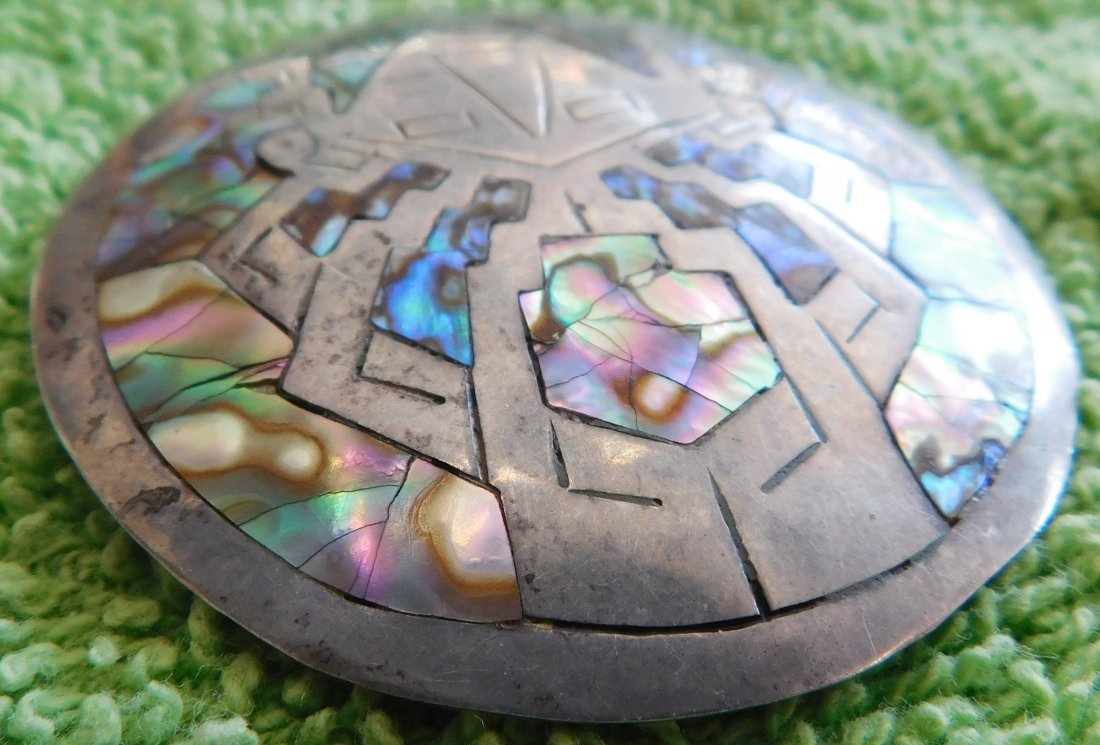 Mexican Sterling Silver & Abalone Pin - 4