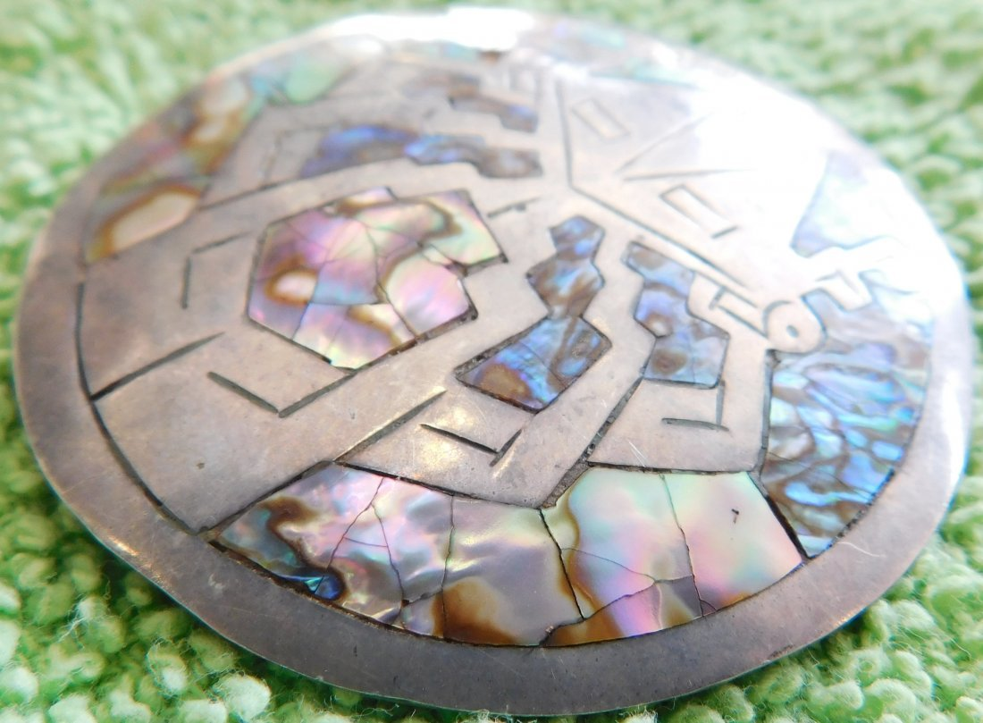 Mexican Sterling Silver & Abalone Pin - 5