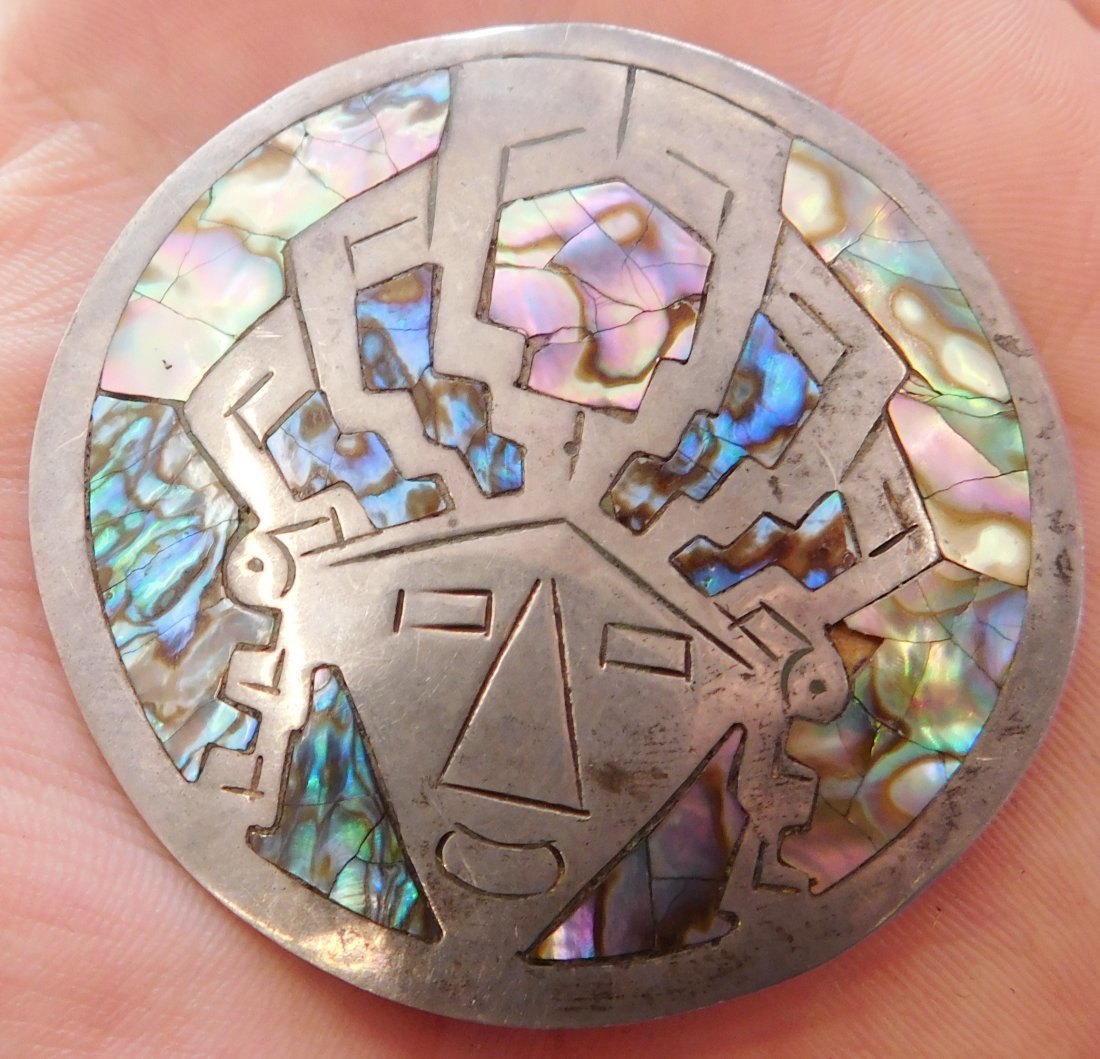 Mexican Sterling Silver & Abalone Pin - 8