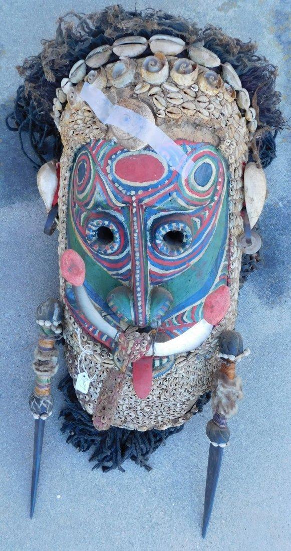 Papua New Guinea Inlaid Mask w/Helm COA