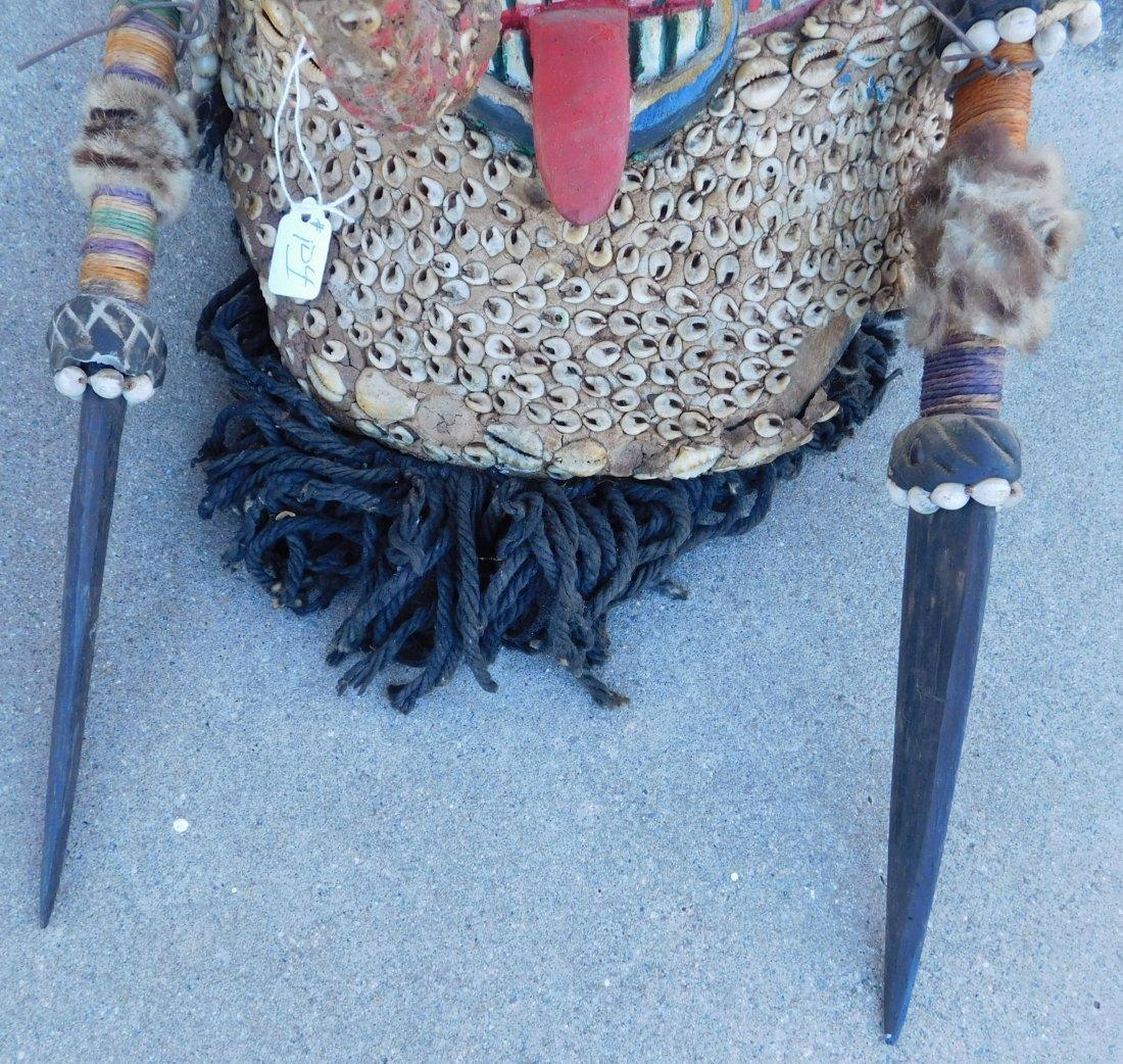 Papua New Guinea Inlaid Mask w/Helm COA - 2