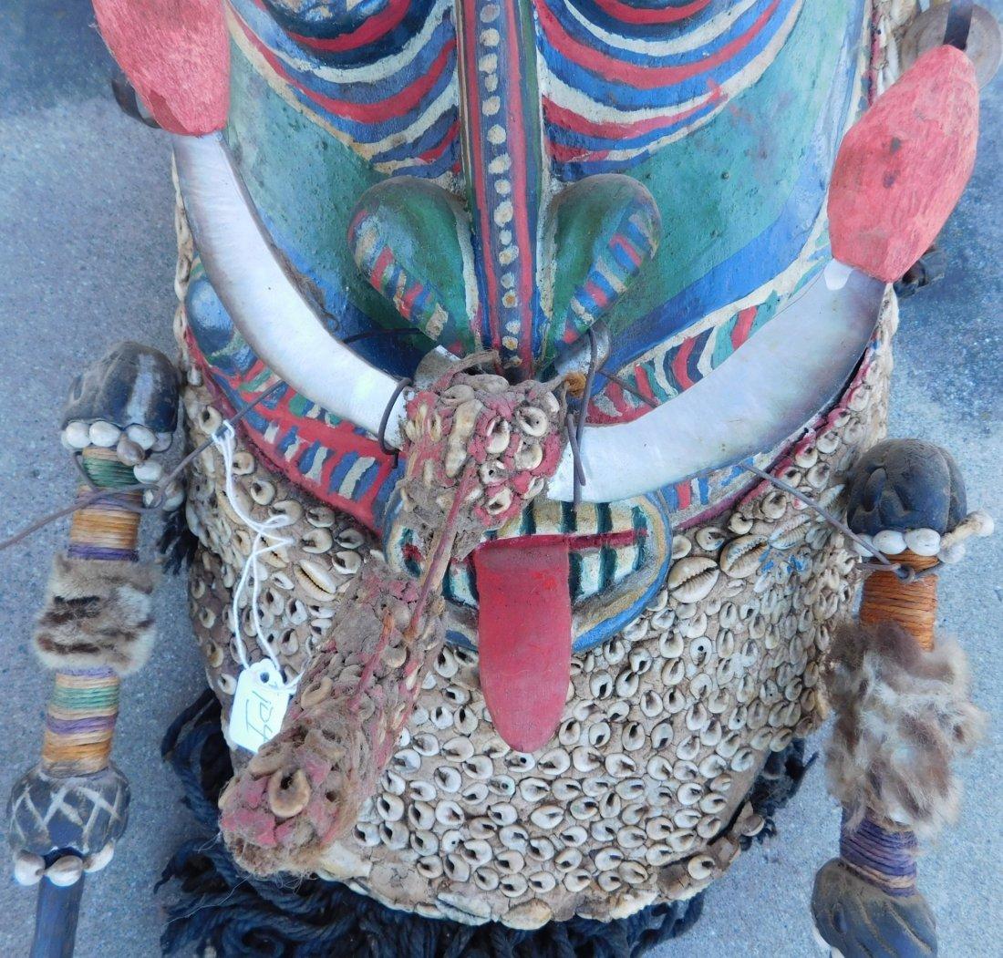 Papua New Guinea Inlaid Mask w/Helm COA - 3